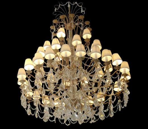 如何设计欧式吊灯中的水晶链效果?