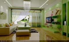 90平米户型客厅绿色小清新装饰设计图
